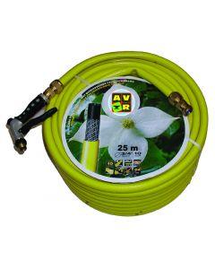 """Gele slang 3/4"""" 25m, getricoteerd high twist resistant system met koperen koppelingen"""