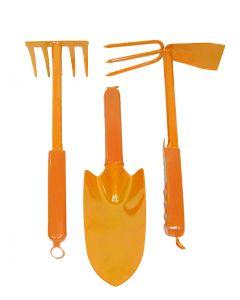 Set met harkje, hak met drietand en plantschopje
